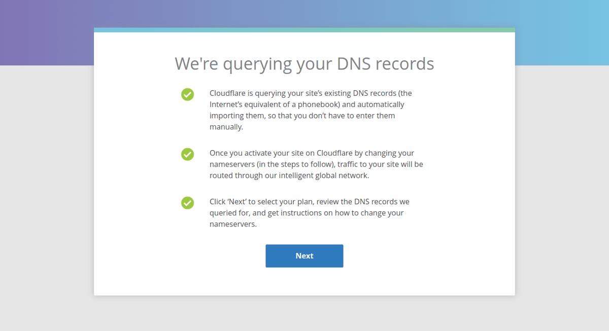 страница верификации DNS